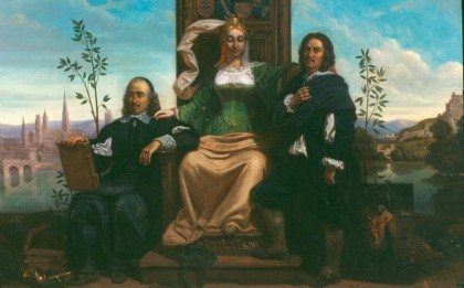 La Normandie s'appuyant sur ses illustres fils Pierre Corneille et Nicolas Poussin (Normandy leaning on her illustrious sons Pierre Corneille and Nicolas Poussin)